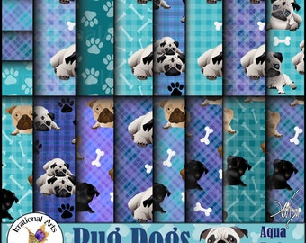 Pug Dog Papers Aqua - 21 digital papers including pug dogs, paw prints dog bones and gingham plaid [Instand Download]