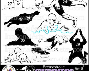 Male Swimmer Silhouettes Set 5 Breaststroke - 8 png clipart graphics {Instant Download}
