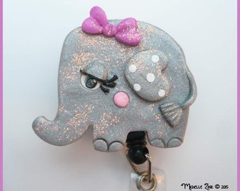Retractable ID Badge Polymer Clay Elephant