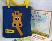 Kids Giraffe Tote Bag|Boys Bag|Girls Bag|Personalized Book Bag|Toddler Gift|Children's Book Bag|Toddler Bag|Preschool Bag|Christmas Gift Bag