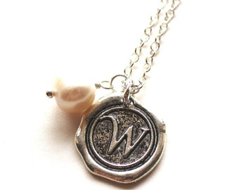 Alphabet personalized initial letter W charm silver and white pearl necklace