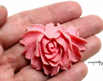 2pc pink rose bloom flower cabochons / flat back resin flower embellishment / detailed resin rose cab / diy jewelry pendants bridal