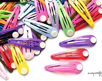50pc hair snap clips  / enameled colored hair clip blanks / 16 colors / lead-free nickel-free snapclip