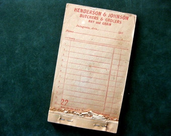 Historic Vintage Patagonia Arizona Grocers Sales Receipt Book, 50 Pages, Numbered, 1900s