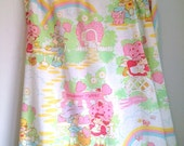 Vintage twin Strawberry Shortcake flat sheet girls bedroom