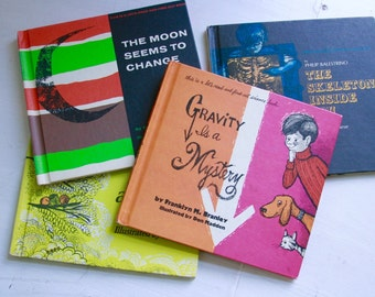 vintage set of children's science books lets read and find out alike