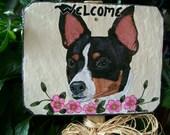 Rat  Terrier Garden Welcome Slate