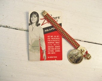 Vintage Zipper and Coin Accent Notion Piece by Zipsters- Pin a Pocket