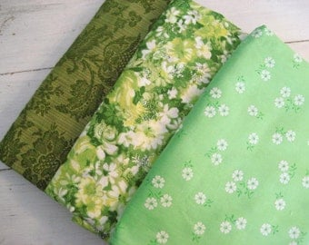 40% off SALE-use coupon code Discount40 at checkout-5Y Vintage Green Floral Lot of Fabric- Lightweight, Upholstery, Flocked, Woven