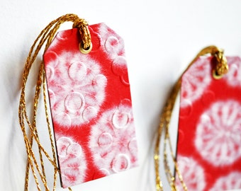 Luxe Red Japanese Gift Tags {3} w. Gold Metallic Ties | Embossed Gift Tags | OOAK Tags