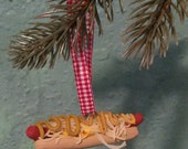 Hot Dog spicy mustard saur kraut Holiday Christmas Ornament
