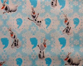 Snowman Fabric, Olaf Cotton Fabric, Happy Snowman Cotton Fabric in Blue and White by Kokka - 50 cm Remnant, Snowflake, Silhouette