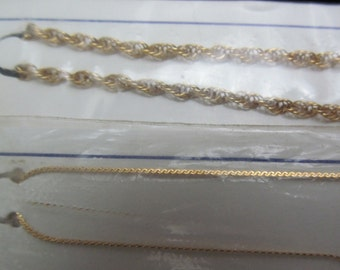 NOS Vintage 12Kt. Gold Filled Jewelers stock Chains AF 83