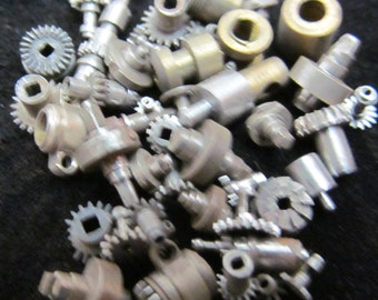 Destash Vial Watch Parts Assemblage Industrial Altered Art Steampunk Charm IV 24