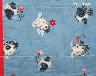 Vintage Quilt Baby Boy Blue Crib Blanket Puppies Dogs Bedding Red White Blue Novelty Fabric