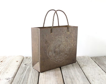 Brass Shopping Bag Chinoiserie Magazine Rack Bin Basket