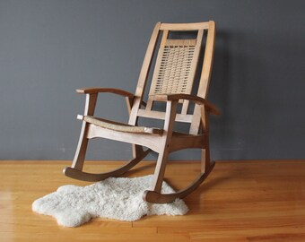 Woven Hans Wegner Style Rope Rocking Chair