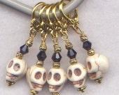 Pirate Skulls Stitch Markers Composite Stone Skull Set of 5/SM227