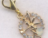 Fairy Stitch Marker Clip Faeries Rhinestones Bling Gold Crochet Markers Each /SM204