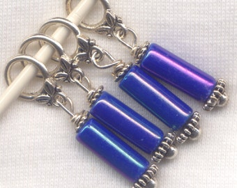 Blue Iris Knitting Stitch Markers Beaded Glass Rainbow finish  Set of 4/SM243B