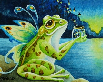 Frog Fairy Firefly Summer Night Pond Limited Edition ACEO Giclee Print reproduced from the Original Watercolor