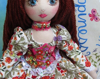 SALE 30% off OOAK Embroidered Heirloom Boudoir Cloth Art Doll Silk Corset Dress Butterflies Handmade With Box