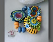 Delit 11 colourful beads , Beadset, SRA B131,colorful beads set, Lampwork, Murano