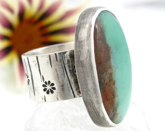 Chrysoprase Ring - Sterling Silver Chrysoprase Ring - US size 7.25 - Bio Chrysoprase ring - pale green ring - rustic ring - size 7 1/4