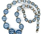 """Vintage Crackle Bead Necklace 14.25"""" Graduated Blue Rounds - Restring, Restyle, Repurpose"""