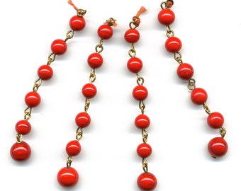 Vintage Lipstick Red Beads on Wire Loops Necklace Tails Opaque Japanese Glass