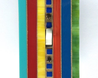 Single Toggle Wall Plate, Multi Color Switch Plate, Red, Turquoise, Orange, Blue, Green Light Switch Cover, Round Dimmer Switch, 8272