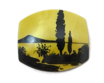 Painted Silhouette Brooch - Yellow Black Lucite
