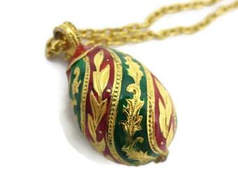 Enamel Egg Pendant - Red Green, Rhinestone,