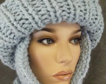 Hand Knit Toboggan Set, Women's Accessories,Wool Blend, Scarf Set,Knit Scarf,Hats, Scarves,Ski Hat,Winter Hat, Light Blue Hat