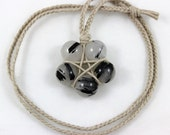 Tourmalinated Quartz Hemp Wrapped Healing Crystal Star Necklace