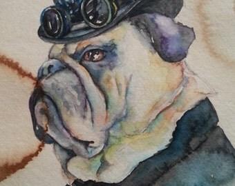 Bulldog, Pug Dog, Portrait -  Coffee and Watercolor Victorian Steam Punk Fine art print, derby, hat, goggles, gears