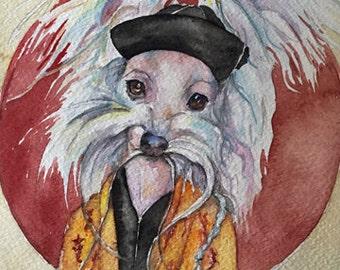 Tasso Fumanchu - Coffee and Watercolor Victorian Steam Punk Fine art print, portrait, pet, crested, Chinese, dog, mustache, red sun, silk