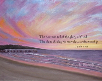 Sunset Pier Painting Print with Bible Verse, Psalm 19:1, Christian, Home Decor, Sunset, Pastel Painting, Seascape, Scripture, Sign, 8 x 10