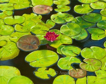 Lily Pad Painting Print, Lotus, Flower, Lily Pads, Green, Summer Pond, Monet, Realism, Landscape, 5 x 7, Home Decor, Pastel, Giclee