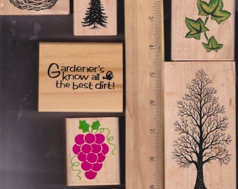 Rubber stamps in Garden Theme gently used - 8 stamps, - diy greeting cards, scrap booking