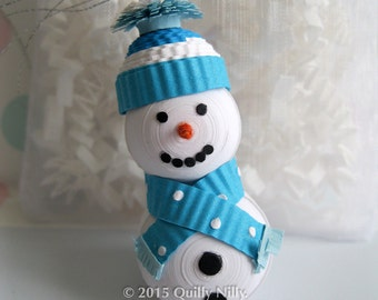 Paper Quilling, 3-Dimensional Snowman Ornament