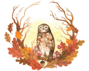 Autumn Wreath Original Painting/Owl Watercolor/Barred Owl/Original Art