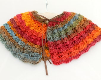 Crocheted Multicolored Shells Capelet. Toddler. Poncho.