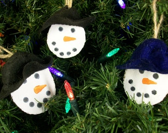Set of 3 Primitive, Rustic, Wood Slice Snowman With Hat Christmas Ornaments