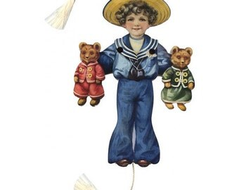 Vintage Jumping Jack Mechanical Card Made In USA Sailor Boy With Teddy Bears  CD 188
