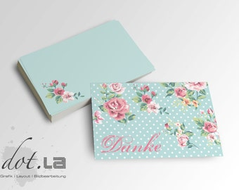 50 PCs mini thank you cards shabby rose