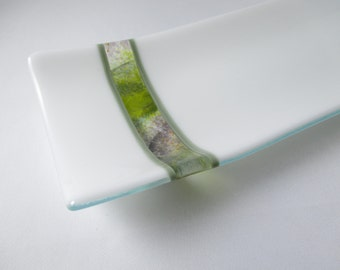 Fused Glass Canape Appetizer Dessert Set Entertaining Serving Tray and Six Coordinated Matching Individual Plates