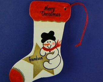 0003 Snowman / star stocking. Free shipping. Message shown is a suggestion. Can be written with a message/name/date of your choice.