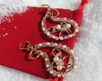 Paisley earrings, Winter white earrings, Pearl earrings, Crystal earrings, Wedding jewelry