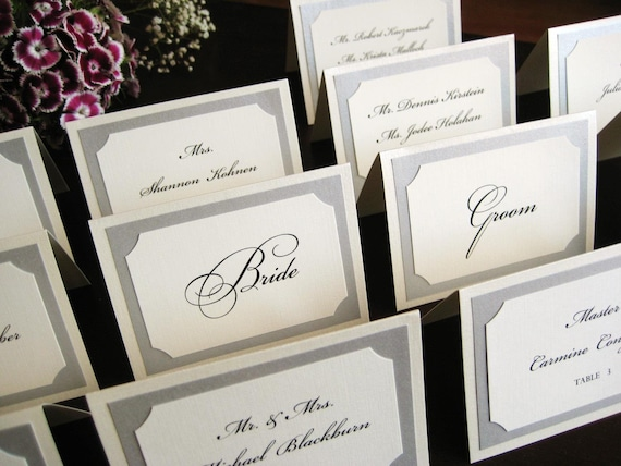 Tent Escort or Place Card in Custom Colors, Fonts, for Wedding Reception, Party and Guests - The Bistro Collection